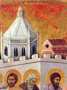 Duccio di Buoninsegna: la Maestà, face avant, détail: les funérailles de la vierge. 1308-1311. Tempera sur bois. Sienne, musée de l'Œuvre du Dôme