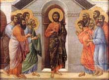 Duccio di Buoninsegna: la Maestà, face arrière, détail: l'apparition dans la salle des portes closes. 1308-1311. Tempera sur bois, 39,5 x 51,5 cm. Sienne, musée de l'Œuvre du Dôme