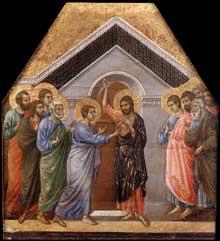 Duccio di Buoninsegna: la Maestà, face arrière, détail: l'incrédulité de Thomas. 1308-1311. Tempera sur bois, 55,5 x 50,5 cm. Sienne, musée de l'Œuvre du Dôme