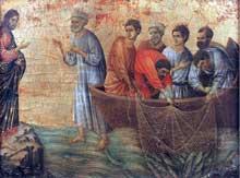 Duccio di Buoninsegna: la Maestà, face arrière, détail: apparition sur le lac de Tibériade. 1308-1311. Tempera sur bois, 36,5 x 47,5 cm. Sienne, musée de l'Œuvre du Dôme
