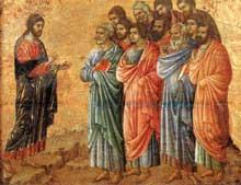 Duccio di Buoninsegna: la Maestà, face arrière, détail: apparition dans la montagne de Galilée. 1308-1311. Tempera sur bois, 36,5 x 47,5 cm. Sienne, musée de l'Œuvre du Dôme