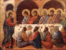 Duccio di Buoninsegna: la Maestà, face arrière, détail: apparition aux Apôtres attablés. 1308-1311. Tempera sur bois, 39,5 x 51,5 cm. Sienne, musée de l'Œuvre du Dôme