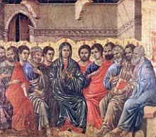 Duccio di Buoninsegna: la Maestà, face arrière, détail: la Pentecôte. 1308-1311. Tempera sur bois, 37,5 x 42,5 cm. Sienne, musée de l'Œuvre du Dôme