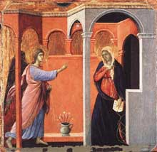 Duccio di Buoninsegna: la Maestà, face avant, détail: l'Annonciation. 1308-1311. Tempera sur bois, 43 x 44 cm. Londres, National Gallery
