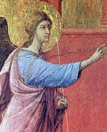 Duccio di Buoninsegna: la Maestà, face avant, détail: l'Annonciation. 1308-1311. Tempera sur bois. Washington, National Gallery of Art
