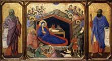 Duccio di Buoninsegna: la Maestà, face avant, détail: la nativité entre les prophètes Isaïe et Ezéchiel. 1308-1311. Tempera sur bois. Washington, National Gallery of Art