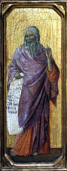 Duccio di Buoninsegna: la Maestà, face avant, détail: le prophète Isaïe de la nativité. 1308-1311. Tempera sur bois, 43,5 x 16 cm. Washington, National Gallery of Art