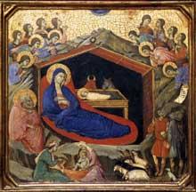 Duccio di Buoninsegna: la Maestà, face avant, détail: la nativité. 1308-1311. Tempera sur bois, 43,5 x 44,5 cm. Washington, National Gallery of Art
