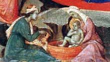 Duccio di Buoninsegna: la Maestà, face avant, détail: la nativité avec les sages femmes lavant l'enfant Jésus. 1308-1311. Tempera sur bois. Washington, National Gallery of Art