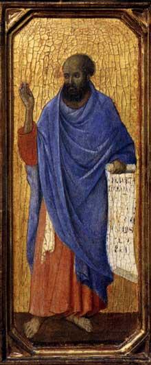 Duccio di Buoninsegna: la Maestà, face avant, détail: le prophète Ezéchiel de la nativité. 1308-1311. Tempera sur bois, 43,5 x 16 cm. Washington, National Gallery of Art