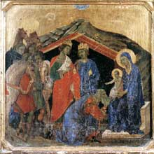 Duccio di Buoninsegna: la Maestà, face avant, détail: l'adoration des Mages. 1308-1311. Tempera sur bois, 42,5 x 43,5 cm. Sienne, musée de l'Œuvre du Dôme