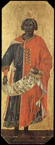 Duccio di Buoninsegna: la Maestà, face avant, détail: le roi Salomon. 1308-1311. Tempera sur bois, 42,5 x 16 cm. Sienne, musée de l'Œuvre du Dôme
