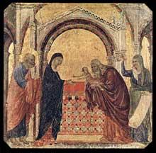 Duccio di Buoninsegna: la Maestà, face avant, détail: la présentation au temple. 1308-1311. Tempera sur bois, 42,5 x 43 cm. Sienne, musée de l'Œuvre du Dôme