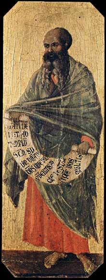 Duccio di Buoninsegna: la Maestà, face avant, détail: le prophète Malachie. 1308-1311. Tempera sur bois, 42,5 x 16 cm. Sienne, musée de l'Œuvre du Dôme