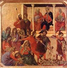 Duccio di Buoninsegna: la Maestà, face avant, détail: le massacre des Innocents. 1308-1311. Tempera sur bois, 42,5 x 43,5 cm. Sienne, musée de l'Œuvre du Dôme