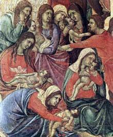 Duccio di Buoninsegna: la Maestà, face avant, détail: le massacre des Innocents. 1308-1311. Tempera sur bois. Sienne, musée de l'Œuvre du Dôme