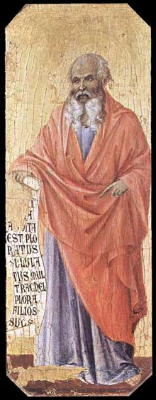 Duccio di Buoninsegna: la Maestà, face avant, détail: le massacre des Innocents, le prophète Jérémie. 1308-1311. Tempera sur bois, 42,5 x 16 cm. Sienne, musée de l'Œuvre du Dôme