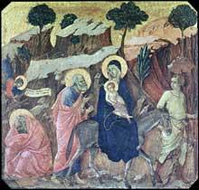 Duccio di Buoninsegna: la Maestà, face avant, détail: la fuite en Egypte. 1308-1311. Tempera sur bois, 42,5 x 44 cm. Sienne, musée de l'Œuvre du Dôme