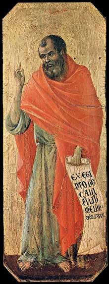 Duccio di Buoninsegna: la Maestà, face avant, détail: le prophète Osée. 1308-1311. Tempera sur bois, 42,5 x 16 cm. Sienne, musée de l'Œuvre du Dôme