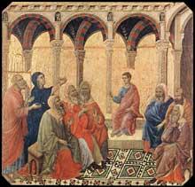 Duccio di Buoninsegna: la Maestà, face avant, détail: Jésus parmi les docteurs de la loi. 1308-1311. Tempera sur bois, 42,5 x 43 cm. Sienne, musée de l'Œuvre du Dôme