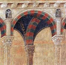 Duccio di Buoninsegna: la Maestà, face arrière, détail: Jésus parmi les docteurs de la loi. 1308-1311. Tempera sur bois. Sienne, musée de l'Œuvre du Dôme