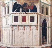 Duccio di Buoninsegna: la Maestà, face arrière, détail: la tentation sur le temple. 1308-1311. Tempera sur bois, 48 x 50 cm. Sienne, musée de l'Œuvre du Dôme