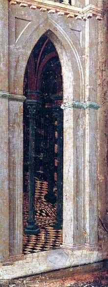 Duccio di Buoninsegna: la Maestà, face arrière, détail: la tentation sur le temple. 1308-1311. Tempera sur bois. Sienne, musée de l'Œuvre du Dôme