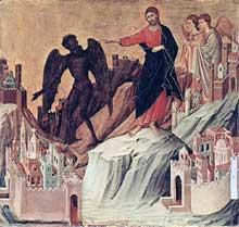 Duccio di Buoninsegna: la Maestà, face arrière, détail: la tentation sur la montagne. 1308-1311. Tempera sur bois, 43 x 46 cm. New York, Frick Collection