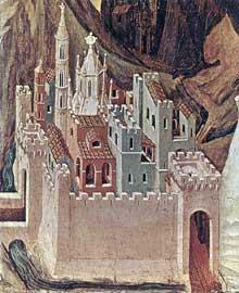 Duccio di Buoninsegna: la Maestà, face arrière, détail: la tentation sur la montagne. 1308-1311. Tempera sur bois. New York, Frick Collection