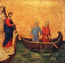 Duccio di Buoninsegna: la Maestà, face arrière, détail: l'appel de Pierre et d'André. 1308-1311. Tempera sur bois, 43,5 x 46 cm. Washington, National Gallery of Art