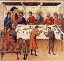 Duccio di Buoninsegna: la Maestà, face arrière, détail: les noces de Cana. 1308-1311. Tempera sur bois, 43,5 x 46,5 cm. Sienne, musée de l'Œuvre du Dôme