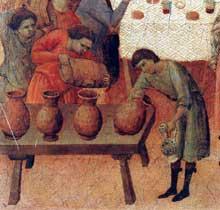 Duccio di Buoninsegna: la Maestà, face arrière, détail: les noces de Cana. 1308-1311. Tempera sur bois. Sienne, musée de l'Œuvre du Dôme