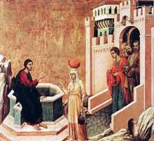 Duccio di Buoninsegna: la Maestà, face arrière, détail: le Christ et la Samaritaine. 1308-1311. Tempera sur bois, 43,5 x 46 cm. Madrid, Collection Thyssen-Bornemisza