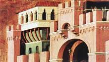 Duccio di Buoninsegna: la Maestà, face arrière, détail: le Christ et la Samaritaine. 1308-1311. Tempera sur bois. Madrid, Collection Thyssen-Bornemisza