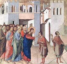 Duccio di Buoninsegna: la Maestà, face arrière, détail: guérison d'un aveugle. 1308-1311. Tempera sur bois, 43 x 45 cm. Londres, National Gallery