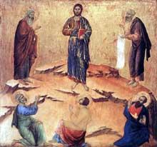 Duccio di Buoninsegna: la Maestà, face arrière, détail: la transfiguration. 1308-1311. Tempera sur bois, 48 x 50,5 cm. Londres, National Gallery
