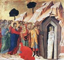 Duccio di Buoninsegna: la Maestà, face arrière, détail: la résurrection de Lazare. 1308-1311. Tempera sur bois, 43,5 x 46 cm. Forth Worth, Kimbell Art Museum