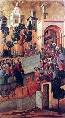 Duccio: Maestà: l'entrée à Jérusalem. 1308-1311. Tempera sur bois, 100 x 57 cm. Sienne, musée de l'Œuvre du Dôme