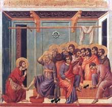 Duccio: Maestà: le lavement des pieds. 1308-1311. Tempera sur bois, 50 x 53 cm. Sienne, musée de l'Œuvre du Dôme