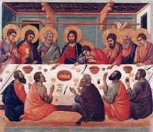 Duccio: Maestà: la Cène. 1308-1311. Tempera sur bois, 50 x 53 cm. Sienne, musée de l'Œuvre du Dôme