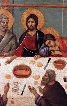 Maestà: la Cène, détail. 1308-1311. Tempera sur bois. Sienne, musée de l'Œuvre du Dôme