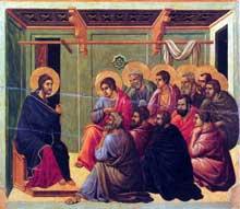 Duccio: Maestà: le Christ prend congé de ses apôtres. 1308-1311. Tempera sur bois, 50 x 53 cm. Sienne, musée de l'Œuvre du Dôme