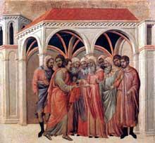 Duccio: Maestà: le pacte avec Judas. 1308-1311. Tempera sur bois, 50 x 53 cm. Sienne, musée de l'Œuvre du Dôme