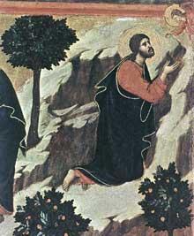 Duccio: Maestà: l'agonie au jardin des Oliviers, détail: l'apparition de l'ange. 1308-1311. Tempera sur bois. Sienne, musée de l'Œuvre du Dôme