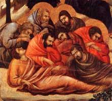 Duccio: Maestà: l'agonie au jardin des Oliviers, détail: les disciples endormis. 1308-1311. Tempera sur bois. Sienne, musée de l'Œuvre du Dôme