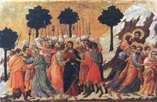 Duccio: Maestà: l'arrestation du Christ. 1308-1311. Tempera sur bois, 51 x 76 cm. Sienne, musée de l'Œuvre du Dôme