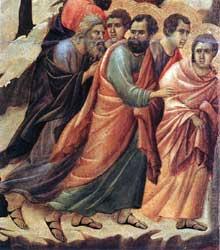 Duccio: Maestà: l'arrestation du Christ, détail: la fuite des apôtres. 1308-1311. Tempera sur bois. Sienne, musée de l'Œuvre du Dôme