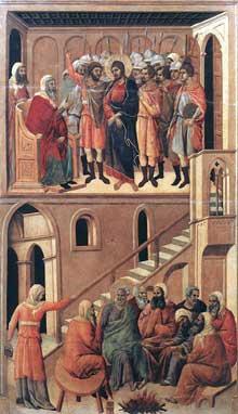Duccio: Maestà: le Christ devant Anne et le reniement de Pierre. 1308-1311. Tempera sur bois, 99 x 53,5 cm. Sienne, musée de l'Œuvre du Dôme