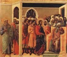 Duccio: Maestà: le Christ devant Caïphe. 1308-1311. Tempera sur bois, 45,5 x 53,5 cm. Sienne, musée de l'Œuvre du Dôme