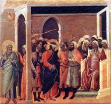 Duccio: Maestà: le Christ outragé, détail. 1308-1311. Tempera sur bois, 45,5 x 53,5 cm. Sienne, musée de l'Œuvre du Dôme